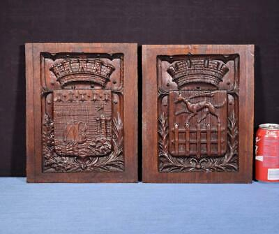 *Pair of French Antique Gothic Revival Panels in Chestnut Wood Salvage