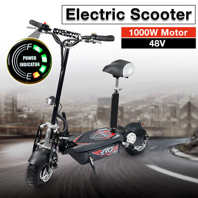 Foldable 1000W Electric Scooter 48V w/ Seat Kit - Turbo w/ LED for Adults/Child