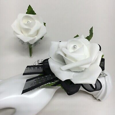 White Rose on Black with Silver Trim  Wrist Corsage & Boutonniere Combo