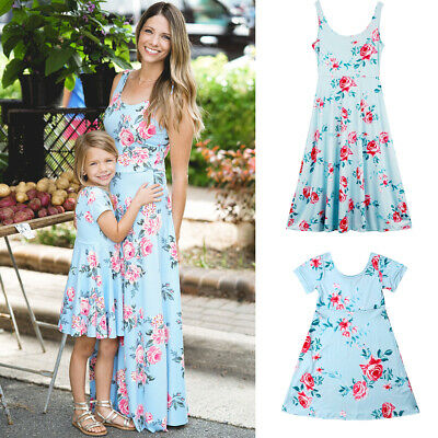 AU Family Clothes Lady's Mother Daughter Matching Summer Baby Girl Dress Outfits