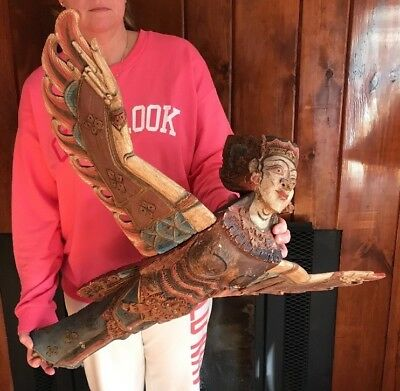 Antique Fully Carved Wood Ship Figurehead Soaring Lady w/ Wings, AMAZING DETAIL!