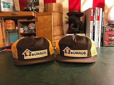 c9112236bdb Lot Of 2 Vintage Burrus Seeds Corn Farmer K Brand Mesh Trucker Hat