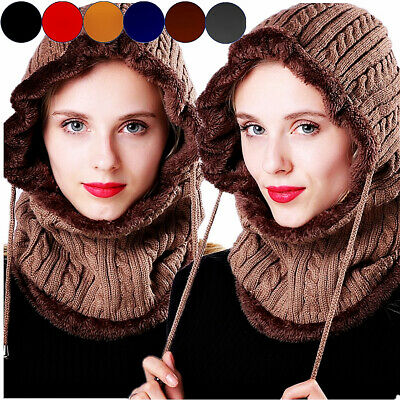 Women Snow Crochet Knit Slouchy Beanie Beret Cap Thick Warm Men Ski Hat Scarf