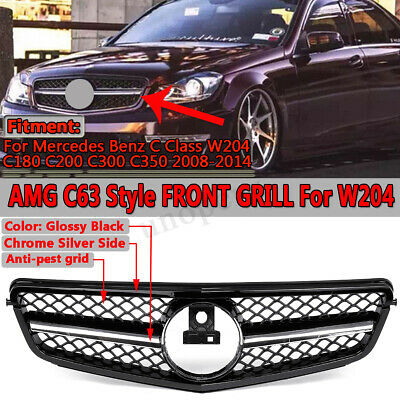 For Mercedes C63 AMG Style Grill Grille For C-Class Benz W204 C250 C300 08-14