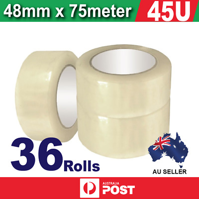 36x Sticky Packing Packaging Tape - 45 Micron Clear 75meter x 48mm - 45U