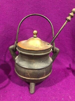 Cast Iron Couldron Solid Brass Lid Fire Starter Hot Pot Wand Witches 9.5 in Vtg