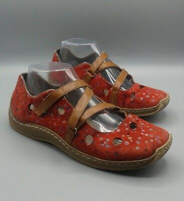326a30a6dc89 RIEKER Anti Stress - RED Leather Cut out Perforated Flats - EUR 39 US 8.5 -