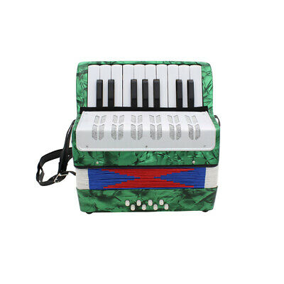 17-Key 8 Bass Accordion Musical Instrument for Kids Christmas Gift Green Y8T6