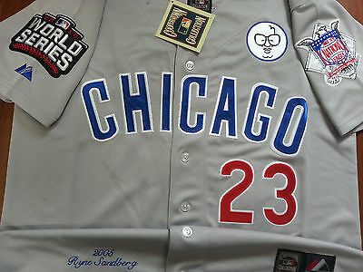 6053a8066 GRAY Brand New Ryne Sandberg Chicago Cubs  23 Cooperstown w 3Patches SEWN  Jersey