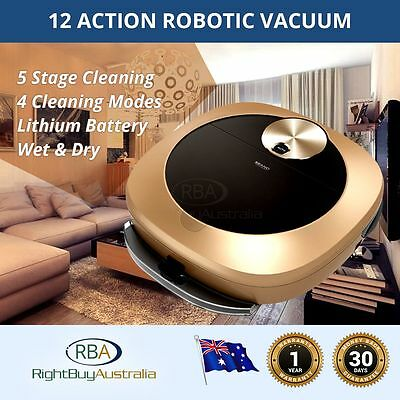 Robotic Vacuum Cleaners Latest Technology Wet/Dry Auto 12 Action 5 Stage 4 Modes