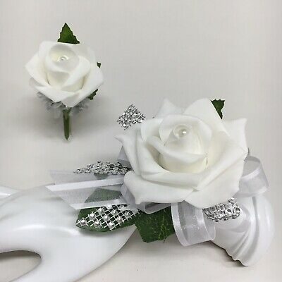 White Rose on White with Silver Trim  Wrist Corsage & Boutonniere Combo