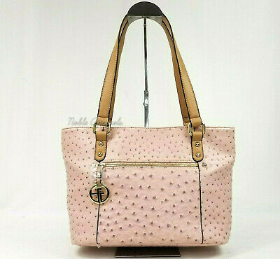 Giani Bernini Ostrich Embossed Faux Leather Tote Shoulder Bag in Blush Pink a12ad84a1c