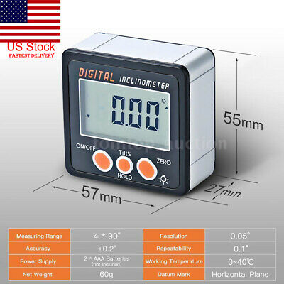 4*90° LCD Mini Digital Protractor Inclinometer Level Gauge For Angle Calibration