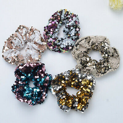 1PC Hot Girl Kids Sequin Scrunchie Hair Band Rope Ponytail Accessories Hair Ring