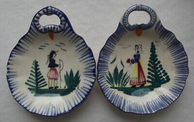 2 Small French Quimper Henriot 'Campagne' Breton Bowls Or Wall Plates W/ Handles
