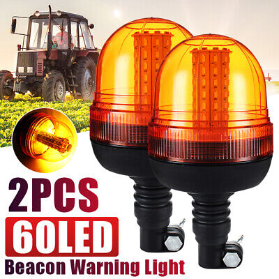 2x 60 LED Rotating Flashing Amber Beacon Flexible DIN Pole Tractor Warning Light