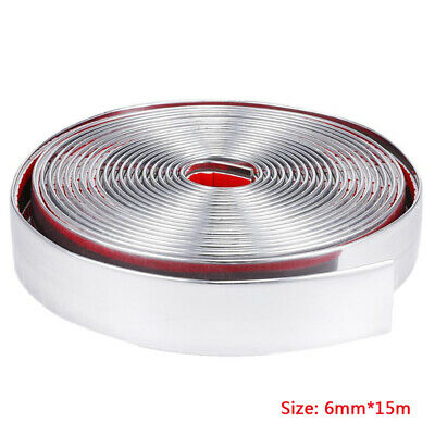 15M Chrome Moulding Trim Strip Car Door Edge Scratch Guard Protector Cover 6mm