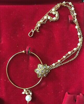 Stunning Floral Nose Ring Non-Piercing Round Nath with Pearl beads Chain NEW