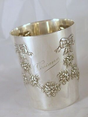 """Antique French Sterling Silver Wine Mint Julep Cup Tumbler """"Timbale"""" Floral 1880"""