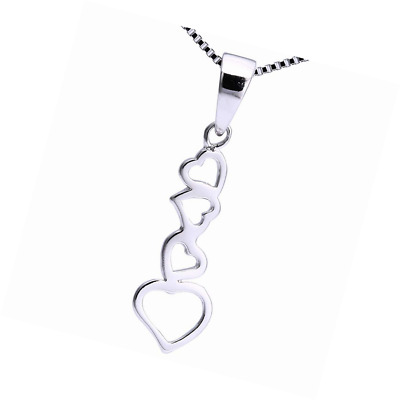 "Luxury Ladies Solid Sterling Silver Unusual Long Four Heart Pendant & 16"" Chain"