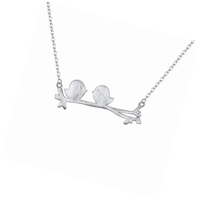 EVER FAITH 925 Sterling Silver Sweet Lover Cute Birds Pendant Adjustable Necklac