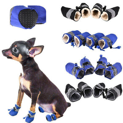 4 Pcs Waterproof Pet Non-slip Shoes Winter Dog Cat Snow Boots Warm Puppy Booties