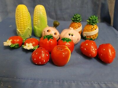 7 x Pair China Salt and Pepper Shakers