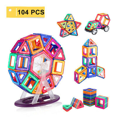 104 Pcs 3D Magnetic Building Tiles Set Blocks Educational Toy For Kids Gift NEW