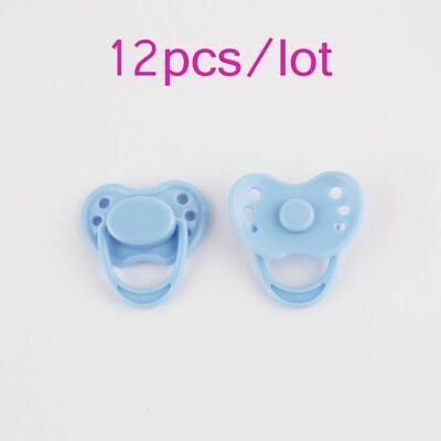 12pcs Blue Magnetic Pacifier Dummy Reborn Dolls Accessories Internal Soother
