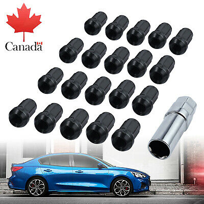 20Pcs Wheel Hex Locking Lug Nuts Blot Key M12x1.5 Black Alloy For Ford HONDA CA