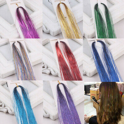 1PCS Strands Hair Extensions Holographic Glitter Tinsel Sparkle Highlights Party