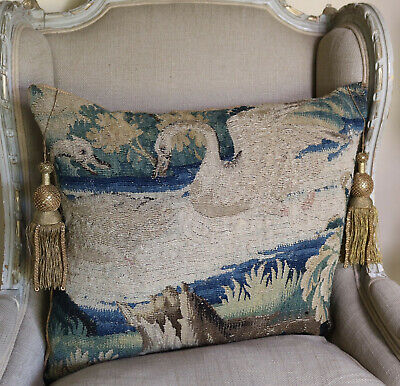18th Century French Aubusson Verdure Tapestry Panel  Antique Pillow Swans