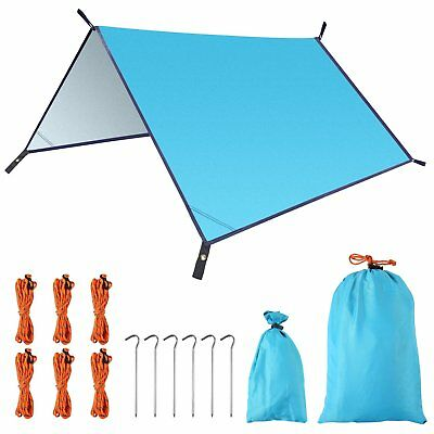 Portable Light Waterproof Fly Tent Tarp, UV Proof Nylon Ripstop Stakes and Ropes