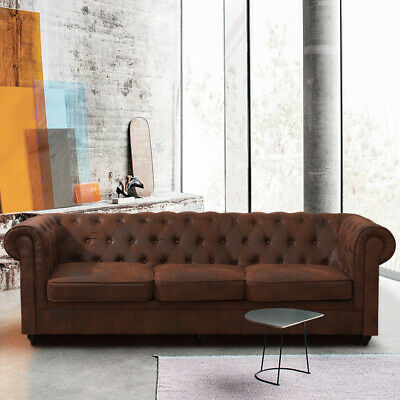 Plus 2 Seater 3 Seaters Luxury Distressed Leather Sofa Chesterfield Suite Settee