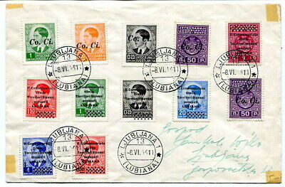 Slovenia, Italian Occupation 1941 multi-stamped cover with Lubiana cancels