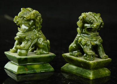 A Pair 100% Natural China Green Jade Carved Fengshui Foo Fu Dog Guard Door Lion