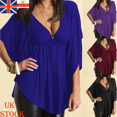 Womens Low Cut Loose Batwing Shirt Ladies Casual Baggy V Neck Blouse Tops 10-18