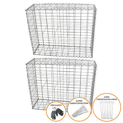 Gabion Baskets Cages Outdoor Mesh Wire Stone Garden / 100 x 80 x 30cm / 2 Pack