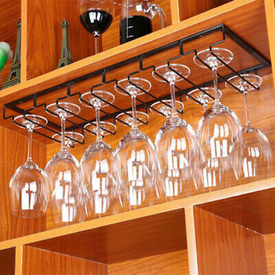 Iron Wall Mount Wine Glass Hanging Holder Goblet Stemware Storage Organizer Rack