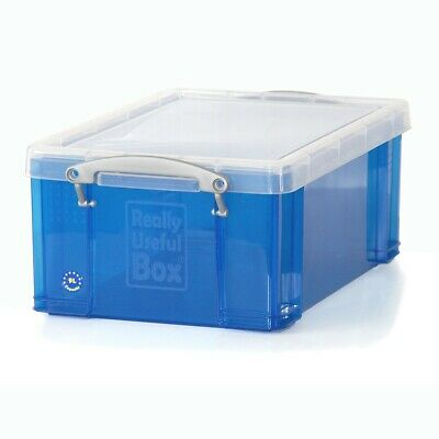 Really Useful Box 9 Liter, transparent blau, Kunstoffbox für Papier & Karton A4