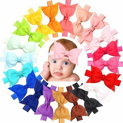 """20pcs Baby Girls headbands With 4"""" Hair Bows Soft Band for Infant Newborn Toddle"""