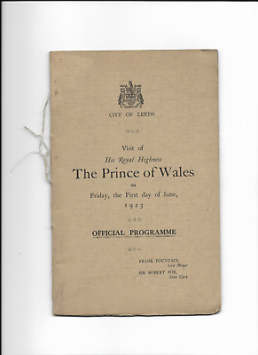 CITY OF LEEDS - Official Programme - VISIT of THE PRINCE OF WALES - 1923