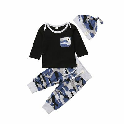 Camo Toddler Kids Baby Boys  Shirt Top Pant Autumn Cotton Casual Outfit Clothing