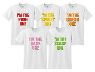 I'm The Posh, Baby, Sporty, Ginger, Scary One T-shirts Top Set Matching Spice