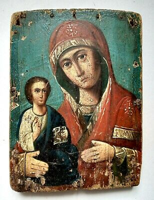 Antique Orthodox Icon Mother of God Theotokos Right Handed Russian Board 17x12cm
