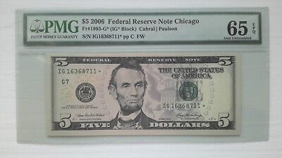 2006 $5 Dollars Chicago *star* Note (65) Gem Uncirculated Epq. Low Print 640,000