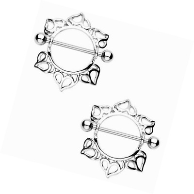 BODYA 2pcs Big Nipple Shield Ring Bars Heart floral Body piercing Jewelry Pair 1