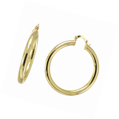 14K Yellow Gold Flashed Polished Round Hoop Earrings Creole Back