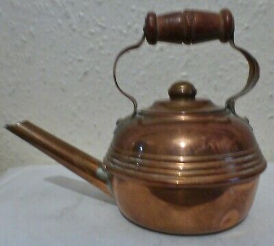SMALL COPPER ORNAMENTAL KETTLE WITH WOODEN HANDLE (os6)