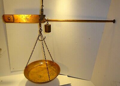 Antique Hanging  Balance Scale Copper Large Single Pan Sliding Very Old Vtg Rare